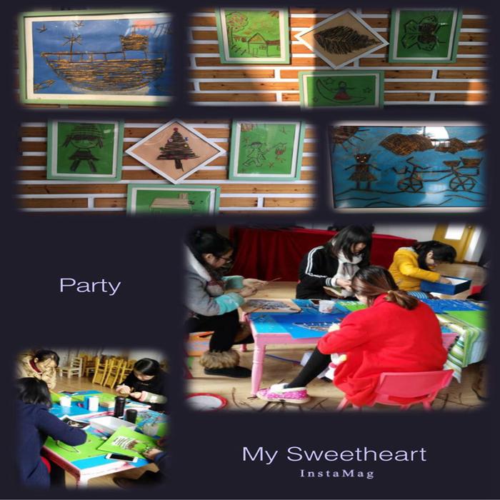 树枝dty——颐和艺术幼儿园开展树枝粘贴画活动